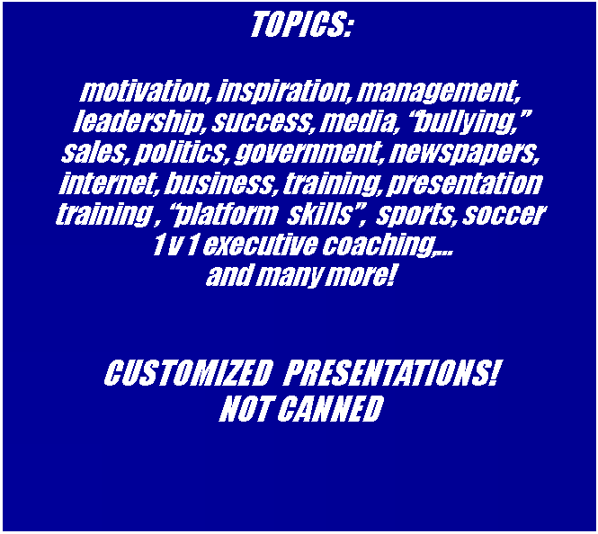 Text Box: TOPICS: